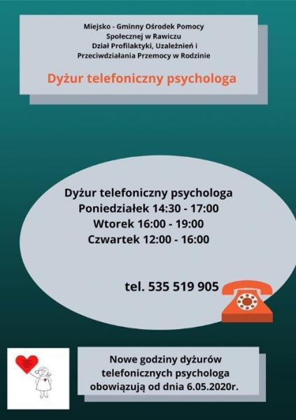Zmiana godzin dyżurów psychologa